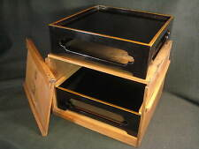 JAPANESE PAIR ANTIQUE 110 YEAR OLD BLACK LACQUER OZEN TRAY W/ PRESENTATION BOX
