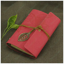 Portable Leaves Vintage Leather Notebook Refillable Personalized Sketchbook Pink