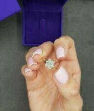 Halo Radiant Moissanite Engagement Ring  Yellow Gold over