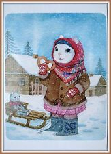 Russian Winter WHITE CAT Animal dress FOLK COSTUME Sled FELT BOOT Art Postcard
