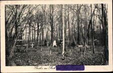 Postcard Postcard WWI Graves in the Park Pont Taverger Field Postcard 1918