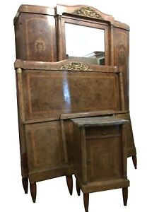 """Antique French Empire Bedroom Suite Armoire 4'6"""" Double Bed Bedside Cabinet"""