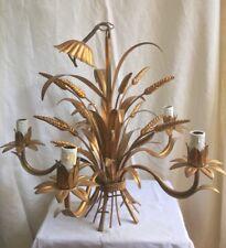 ancien lustre métal doré épis de blé 5 Branches