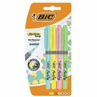 BIC Highlighter Pastel Marking Grip Pens Assorted Colours Pack of 4