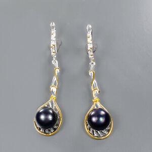 One of a kind Pearl Earrings Silver 925 Sterling   /E57745