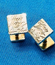 Sterling Tiffany&Co Notes Square Cufflinks 11.9g W/Blue Bag