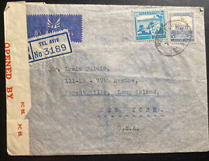 1943 Tel Aviv Palestine Airmail Censored Cover To New York USA