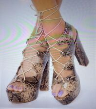 Shu Shop New Snake Print Platform  Chunky 6 Inch High Heels Lace Up Women Sz 6.5