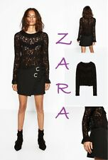 ZARA Frilled Long Sleeve Cropped Unique Black Lace Top Blouse New (RT$50) Size M