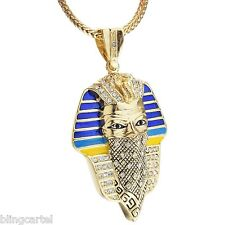 "Masked Pharaoh King Gangster Thug Pendant Gold Finish 36"" Franco Chain Necklace"