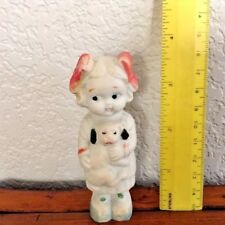 "Vintage Japan 3.75"" Googly Eyed Little Girl Carrying Her Puppy"