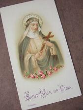 Antique Vintage Catholic HOLY CARD St. Rose of Lima -  Germany 1920's