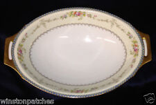 "MEITO CHINA V2144 11 3/4"" OVAL VEGETABLE BOWL BLUE & YELLOW BORDER FLORAL SPRAYS"