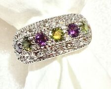 RING STUNNING GREEN PERIDOT & AMETHYST INLAID RING SIZES   6,   7