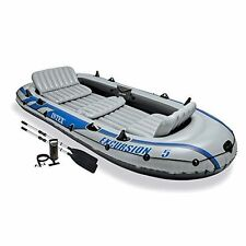 Intex Excursion 5 Person Inflatable Boat Set Aluminum Oars And Output Air Pump