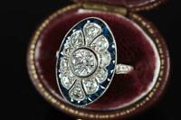 Engagement Wedding Ring Vintage Art Deco 925 Sterling Silver 1.5Ct Round Diamond