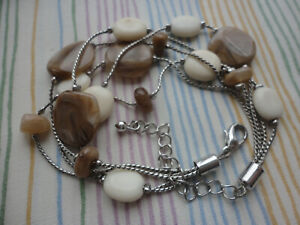 """Silver-plated twist-knit faux agate cream beige plastic 13gram 7.5-9.5"""" anklet"""