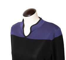 MISOOK WOMAN Color Block Pull Over Sweater Top Purple & Black Petite Small