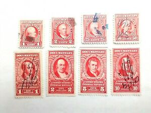 1954 Red Documentary Stamps - 1,2,25,50 cent, $1,2,5,10