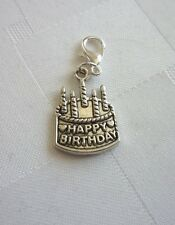 Happy Birthday cake charm dangle, Great on Lenny Eva, owl, bracelet, necklace