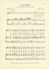 """CARNEGIE MELLON UNIVERSITY Song Sheet c1927 """"Fight for the Glory of Carnegie"""""""