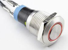 Einbauschalter rastend Schalter Druckschalter 16 mm max 250V / 3A Edelstahl LED