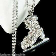 3D w Swarovski Crystal Ice figure Skating Shoes Skate Pendant Chain Necklace New