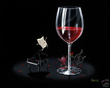 "**Michael Godard-""TICKLING THE IVORY"" Red Wine-Piano-Keyboard-Music-Musical-Art*"