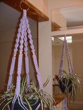 Macrame Plant Hanger VIOLET 4 TAN BEADS
