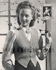 Vintage Knitting Pattern Lady's 1940s Waistcoat. Cable Design. 3Ply.