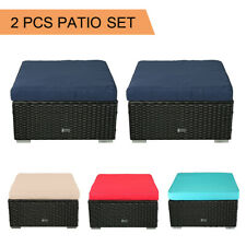 2 PCS Ottoman Patio Outdoor Wicker Rattan Furniture Foot Stool Cushions Sofa Set