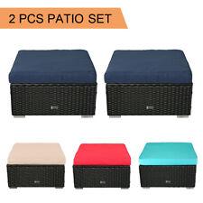 2 PCS Ottoman Patio Outdoor Wicker Rattan Furniture Foot Stool Cushions Sofa Set