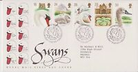 GB ROYAL MAIL FDC FIRST DAY COVER 1993 SWANS STAMP SET BUREAU PMK