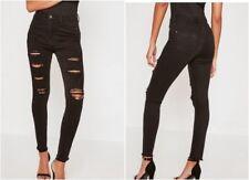MISSGUIDED Sinner High Waist Extreme Rip Skinny Jeans Black PLUS UK 18  (mgnn11)