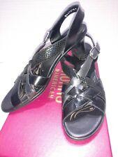 Munro Kara Black combo strappy heel Siz 7.5 N made USA shock absorbing heel