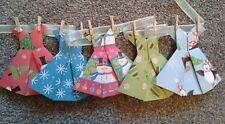 HANDMADE CHRISTMAS DECORATION ORIGAMI BUNTING  GARLAND - 5 DRESSES ON 1M RIBBON