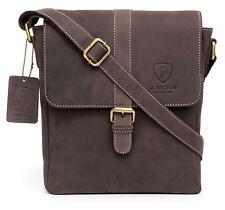 Designer Leather Mens  Ladies Crossover Shoulder Work Messenger Bag Travel