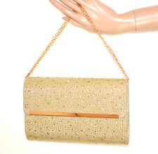 BOLSO CLUTCH bag oro mujer strass glitter elegante cadena dorada elegante G32