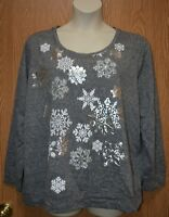 Womens Pretty Sparkly Snowflake Style&co Long Sleeve Shirt Size 1X NWT NEW