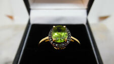 925 Argento Sterling Placcato in Oro 14 KT Peridot & Green Diamond Ring taglia s. in scatola.