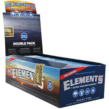 Full  Box 25 PACK  ELEMENTS SINGLE WIDE DOUBLESize ULTRA THIN RICE rolling paper