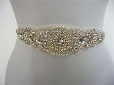 Rhinestone Applique Wedding Sash Ivory Bridal Sash Belt Dress  Lia