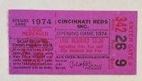 1974 Cincinnati Reds Opening Day Ticket Stub Hank Aaron HR 714 Ties Babe Ruth EX