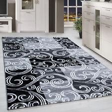 Kurzflor Design Teppich Patchwork Optik Tribal Muster Grau Schwarz Meliert