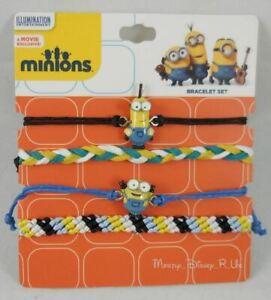 New Despicable Me Minions 4 Pack Arm Party Cord Bracelet Set
