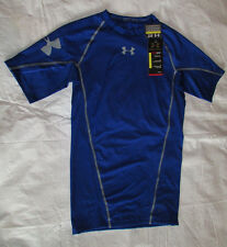 New Mens UNDER ARMOUR Large Royal Blue Polyester Football Compression Shirt NWT