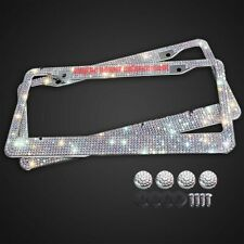 2pcs Bling License Plate Frame White Silver Glitter Crystal Sparkling Rhinestone
