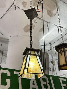 Antique Bentley & Hausler Slag Glass Prairie School Pendant Ceiling Light