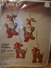 BUCILLA NEEDLECRAFT FELT APPLIQUE JEWELED ORNAMENTS KIT--#1880--SANTA & REINDEER