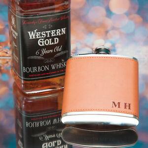 Personalised Hip Flask Engraved Leather - Birthday Wedding Xmas Gift !!